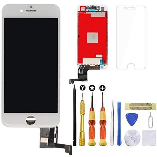 for White iPhone 7 Plus Screen Replacement Lansupp 3D Touch Screen Glass Digitizer Frame Assembly with Tempered Glass Screen Protector + Repair Tools + Instruction