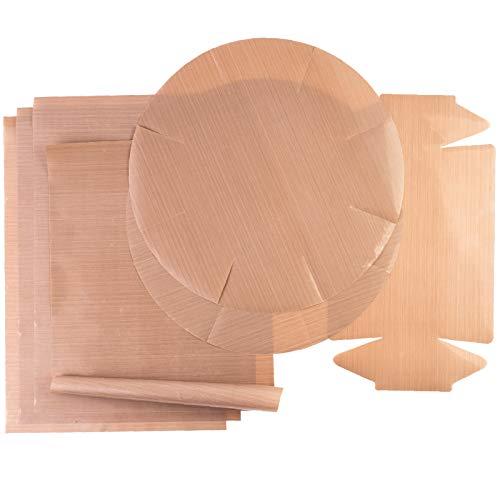 GOURMEO Dauerbackfolie (7er Set) – Teflon Antihaft Beschichtung – Dauerbackmatte, Backpapier, wiederverwendbar, Dörrfolie – 4x Rechteckig 32x46 cm, 2x Springform rund, 1x Kastenform