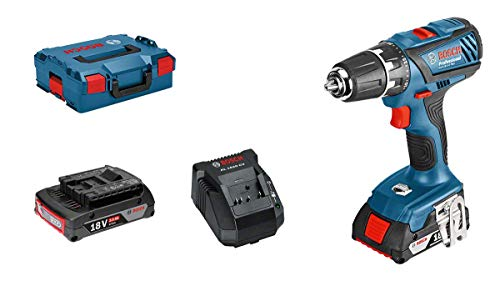 Bosch Professional Akkuschrauber GSR 18-2-LI Plus (2x 2,0 Ah Akku, Schnellladegerät, L-BOXX, 18 Volt, max. Drehmoment: 63 Nm, max. Schrauben-Ø: 8 mm)