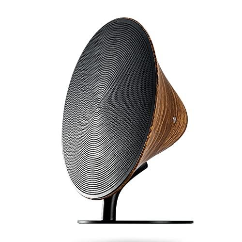 Altavoz bluetooth inalámbrico de metal de grano de madera creativo, toque elegante en casa, subwoofer de alta fidelidad estéreo, altavoz nfc, altavoces tws supergraves, versión de bluetooth 4.2,Marrón