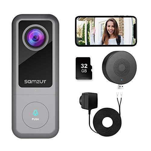 Timbre de puerta con cámara cableada, Samzuy 2 K Ultra HD, con timbres, conexión WiFi, detección de movimiento, función de interfono de dos vías, visión nocturna, resistente al agua IP65