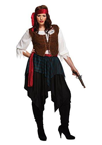 HENBRANDT Das Kostüm der karibischen Dame umfasst Hemd, Weste, Rock, Helm und Gürtel für Damen Groß mehrfarbig