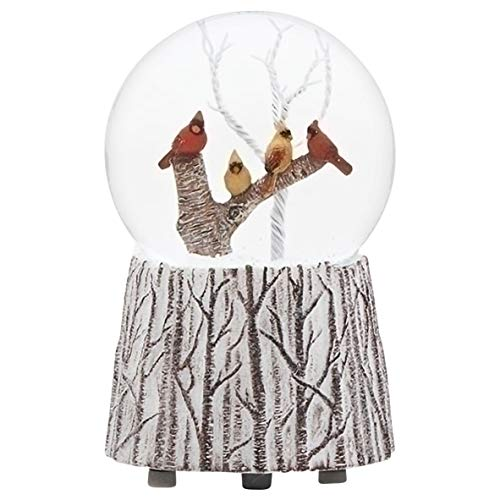 Cardinals on a Branch Musical 5.25 Inch Snow Globe Playing The Tune We Wish You A Merry