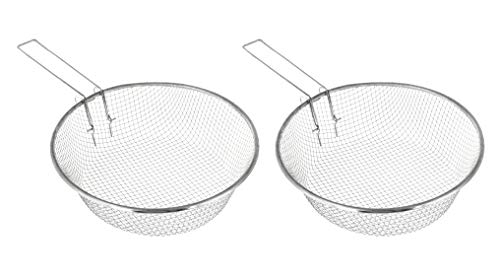 Metal Deep Round Fryer Basket - Pack of 2-9 Inch - Stainless Steel French Fry Serving Strainer Basket With Handle - Wire Baskets for Cooking