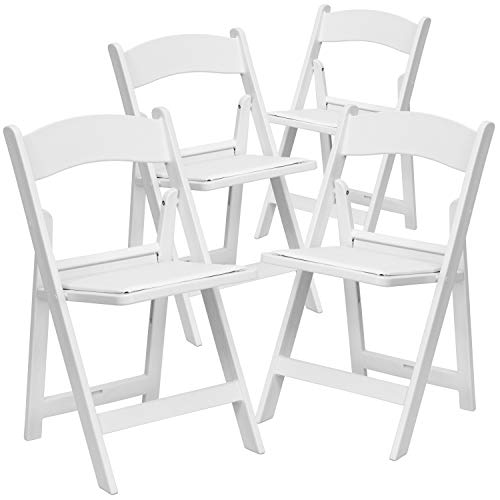 Flash Furniture 4 Pack HERCULES Series 1000 lb. Capacity White Resin Folding Chair with White Vinyl Padded Seat