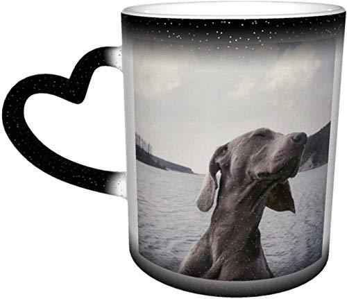 Taza de cerámica Bozal para perro Taza que cambia de color sensible al calor en el cielo Tazas de café Taza de cerámica