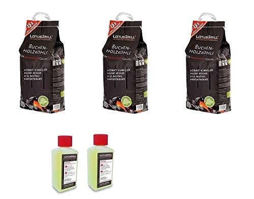 KIT Carbonella di Faggio 3 x 2,5 Kg + 2 confezioni Gel per accensione Originale Lotus Grill
