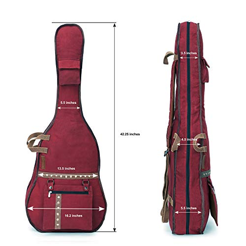 The-House-of-Tara-Maroon-Canvas-Fabric-Acoustic-Guitar-Bag-Cover-for-Men-and-Women
