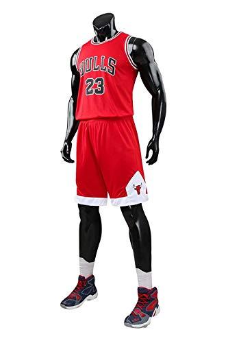 Yueyue Herren Michael Jordan # 23 Chicago Bulls Retro Basketball Shorts Sommer Trikots Basketballunifor (Rot, L(Hauteur:160-165cm))