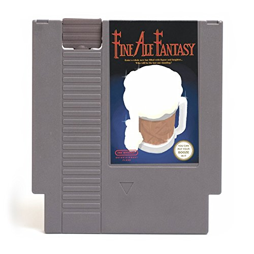 Ink Whiskey Concealable Entertainment System Flask – Looks Like a Retro Video Game Cartridge – But It's a Flask with a Hilarious Label (Fine Ale Fantasy)