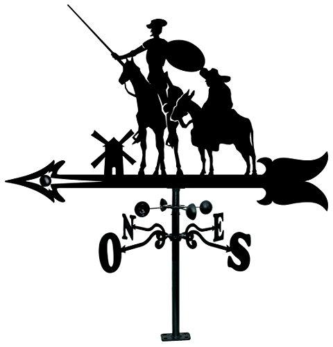 Arthifor Veleta de Tejado con Silueta de Don Quijote y Sancho, Negro Satinado, 900 mm Ancho x 1025 Alto mm