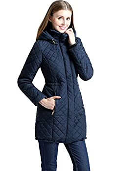 BGSD Women s Angela Waterproof Quilted Parka Coat Navy Small