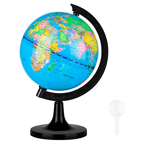 Fun Lites 14CM World Globe for Kids Learning, Educational Rotating World Map Globes Mini Size Decorative Earth Children Globe for Classroom Geography Teaching, Desk & Office Decoration