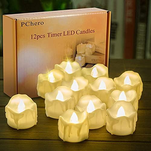 LED Kerzen mit Timer, PChero 12 Stück LED Elektrische Teelichter Flackernde Kerze Beleuchtung mit Batterie, Automatische Timerfunktion: 6 Stunden an und 18 Stunden aus für Zuhause Deko [warmweiß]