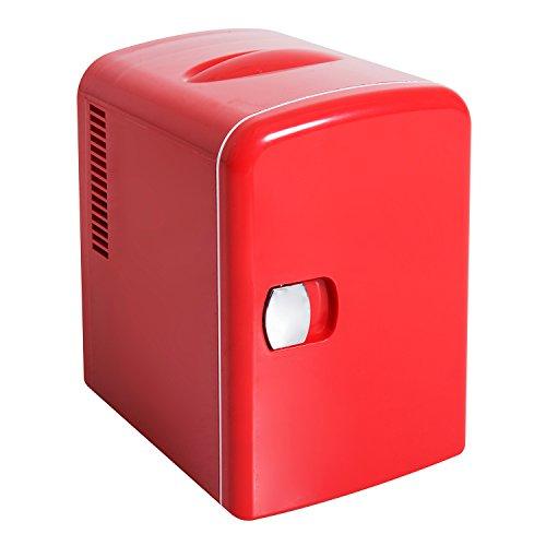 HOMCOM Mini Frigorifero Multifunzionale Freddo Caldo Capacità 4L Camera Ufficio Auto 28 × 20 × 30cm Rosso