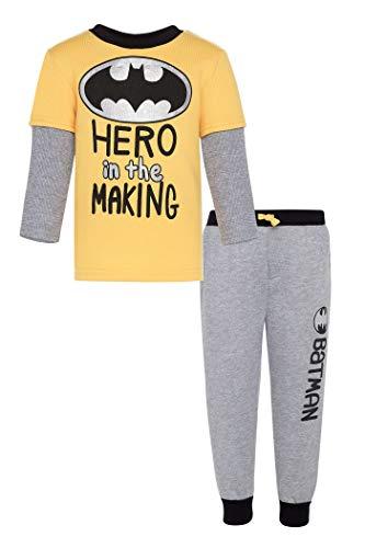 Warner Bros. Conjunto de Camisa de Manga Larga de Lana de Batman y Pantalones de chándal para bebé-niños 18 Meses Amarillo y Gris