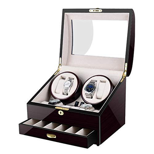 Caja de Reloj Caja Enrolladora de Reloj Automática con 4 Posiciones e Enrollador De Reloj Y 12 Espacios de Almacenamiento de Exhibición para Relojes de Hombres y Mujeres como un Regalo