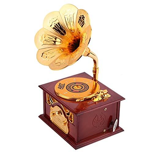 LMG Caja de música de Forma fonógrafo Creativa, Caja de música Retro, Adornos clásicos, Altavoces de Oro, artesanías Creativas (Color : Brown)