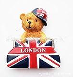 WANG 2 unids Exportación turística Recuerdo Resina británica Etiquetas engomadas del refrigerador Londres Oso Cabina de teléfono buzón Bus Edificio, 7
