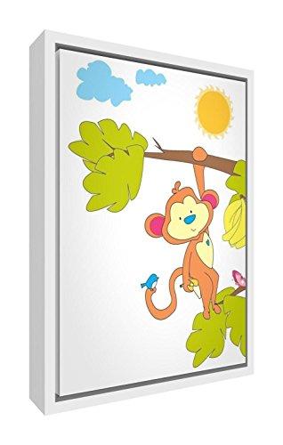 Feel Good Art eco-bedrukt & ingelijst kinderkamer doek, solide wit houten frame 〗 Milo De aap zwaait in de boom, meerkleurig, 44 x 34 x 3 cm (middel)
