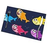 Set di 6 Tovagliette All'Americana,Antiscivolo,Lavabili,in PVC,Baby Shark,Resistenti al Calore,Resistenti Allo Sporco e Lavabili,per La Cucina e La Tavola