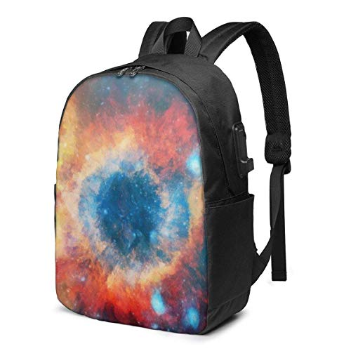 IUBBKI Dreamy Beautiful Universe Rotating Nebula Laptop Backpack with USB Charging Port 17 Inch Travel Computer Backpacks for WOM.