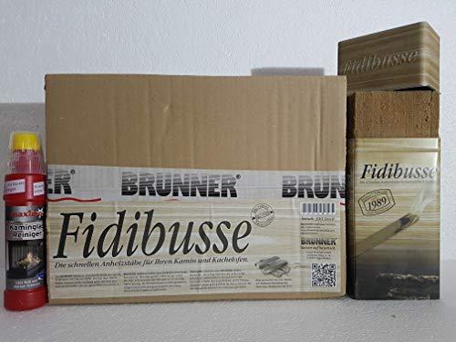 Fidibusse Brunner Geschenkdose incl. 50 Stück + 350 Stück im Karton zum Auffüllen + Kaminglas Reiniger Gel mit Bürste, 1 Flasche á 200ml