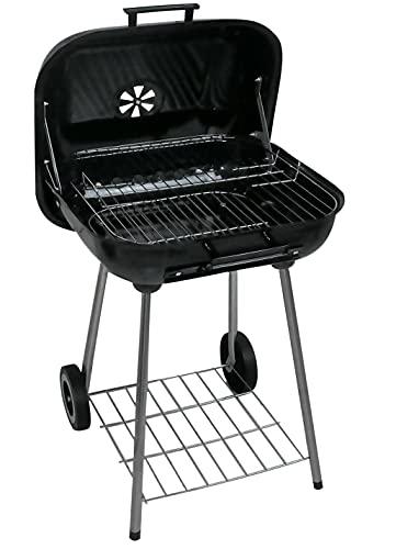 barbecue a carbonella 47 cm AERZETIX - Barbecue portatile a carbonella con coperchio 76x47x47cm - barbecue su carrello - barbecue a carbone con 2 ruote - C50963