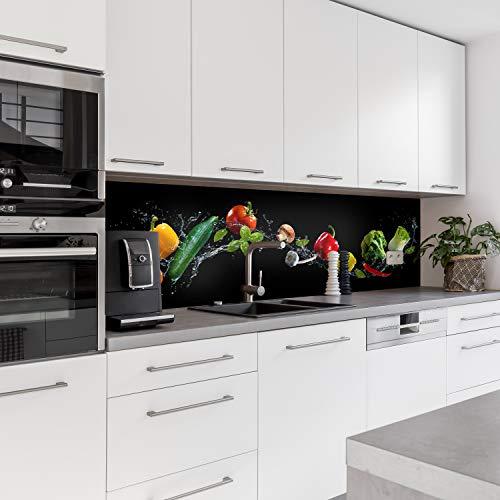 Dedeco Küchenrückwand Motiv: Obst & Gemüse V1, 3mm Acrylglas Plexiglas als Spritzschutz für die Küchenwand Wandschutz Dekowand wasserfest, 3D-Effekt, alle Untergründe, 240 x 60 cm
