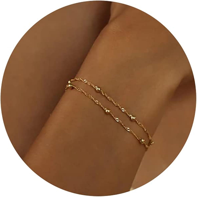 Kyerlyn 14K Gold Plated Handmade Dainty Dot Bracelet Cute Thin E