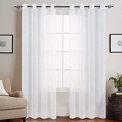 TOPICK Voile Vorhang Mit Ösen Transparent Gardine Gaze Paarig Ösenschals für Wohnzimmer Schlafzimmer Weiß 225 x 140 cm (H x B) 2er Set