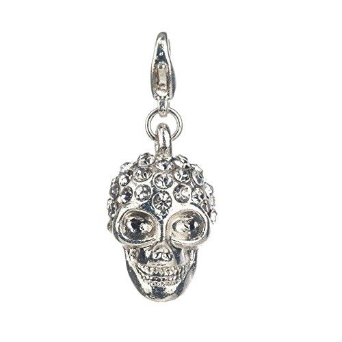 VAGA - Colgante de Calavera, Estilo Punk, Color Plateado, con Forma de cráneo, con Clip, para Pulseras de Abalorios, Pulseras, brazaletes, con Cristales Brillantes