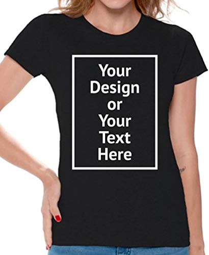 Awkward Styles Personalized Shirt Women DIY Your Own Photo Image or Text Csutom T-Shirt Front/Back Print Black XL