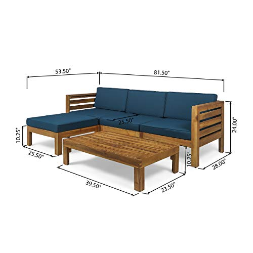 Christopher Knight Home Alice Outdoor 5 Piece Acacia Wood Sofa Set, Teak Finish, Dark Teal