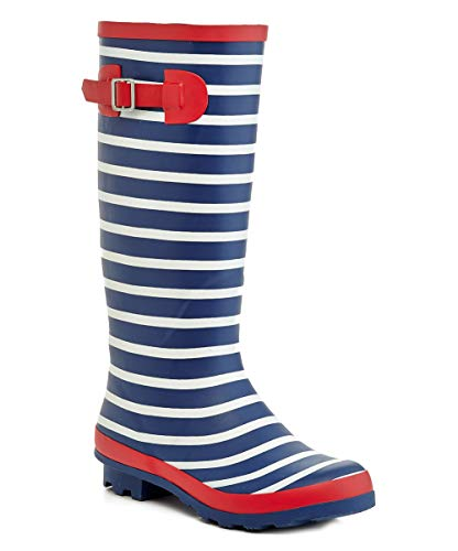 Henry Ferrera Tall Rain Boot Rain Boots Navy Red Womens 7