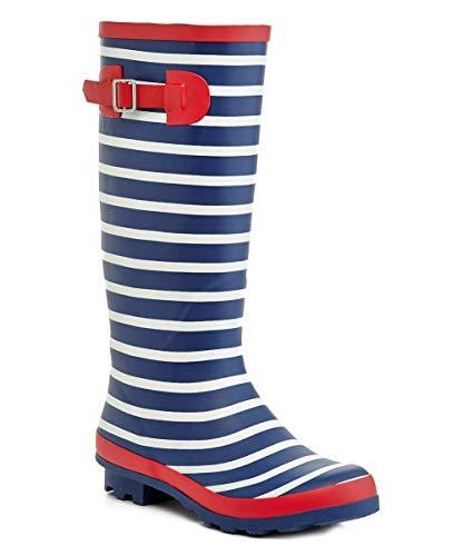 Henry Ferrera Tall Rain Boot Rain Boots Navy Red Womens 9