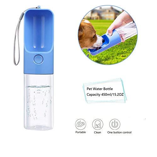 Aoweika Hunde-Trinkflasche, 450 ml, lebensmittelechtes ABS, auslaufsicher, tragbare Wasserflasche für unterwegs