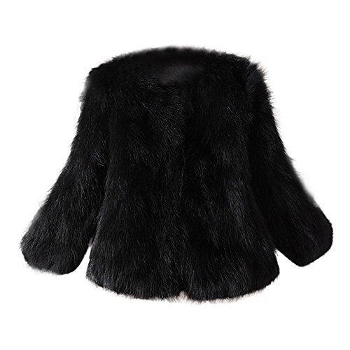 iHENGH Damen Herbst Winter Bequem Mantel Lässig Mode Jacke Frauen Kunstpelz weicher Pelzmantel Jacke Flauschige Winterweste Oberbekleidung(Schwarz, S)