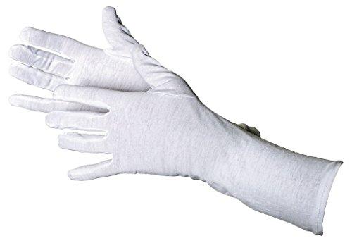 Jah 2099-35 - Guantes de algodón (12 pares, 35 cm de largo, extra finos, talla 8), color blanco