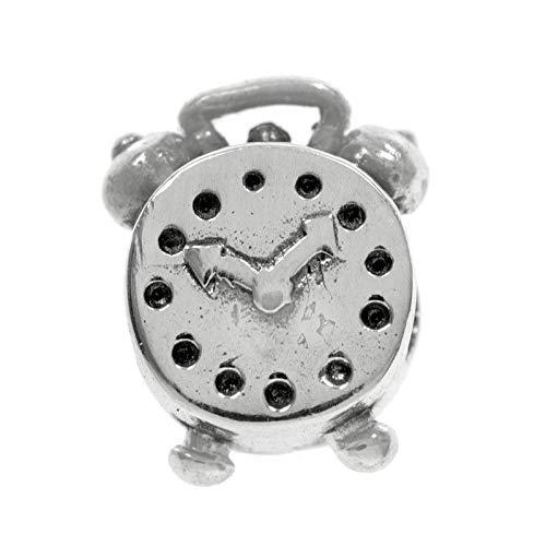 Charm abalorio compatible con Pandora reloj despertador Plata de Ley