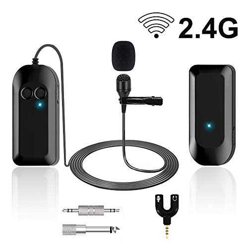 Wireless Lavalier Lapel Microphone, Professional UHF Omnidirectional Recording Mic with Clip-on, Beltpack Transmitter and Receiver for Live Performance, for ios, Android Phone, Ipad, Recording