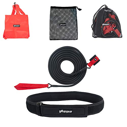 UPGEAR Swim Tether 2 in 1 Kit - Stationary Swimming Training Belt with Water Parachute and Bungee Workout Cord - Pool Swim Training Leash - Swim Resistance Tether- Mesh Bag for Storage and Travel