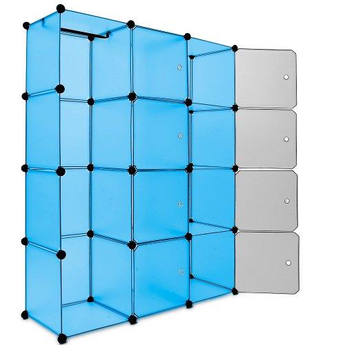 Regalsystem 12 Boxenfächer Steckregal Kleiderschrank DIY Garderobe Schuhregal Kunststoffboxen in blau