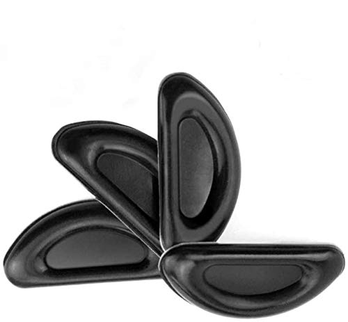 Eyeglass Nose Pads, Stick on Anti-Slip Adhesive Soft Silicone Nose Pads for Glasses, Eyeglasses, and Sunglasses 2mm- 12 Pairs (Black)