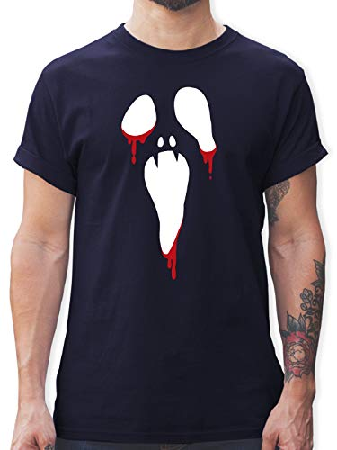 Halloween - Scream Halloween - L - Navy Blau - Geschenk - L190 - Tshirt Herren und Männer T-Shirts