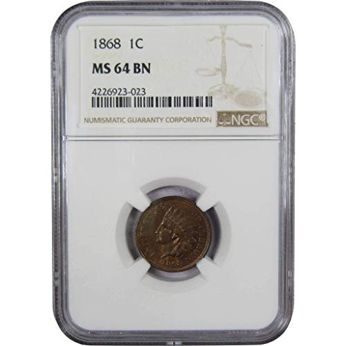 1868 Indian Head Cent MS 64 BN NGC Bronze Penny 1c Coin Collectible