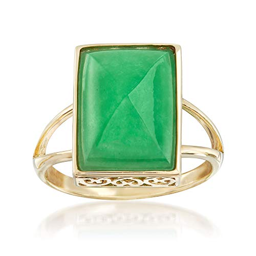 Ross-Simons Jade Cabochon Ring in 14kt Yellow Gold