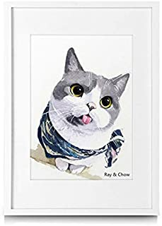 Ray & Chow A3 White Picture Frame - Made to Display Pictures A4 with Mat or A3 Without Mat- Solid Wood- Glass Window- Wall Hanging