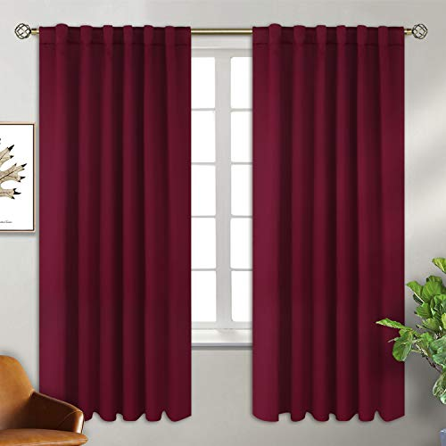 BGment Rod Pocket and Back Tab Blackout Curtains for Bedroom Thermal Insulated Room Darkening Curtains for Living Room, 2 Window Curtain Panels (W55 X L69 Inch, Burgundy Red)