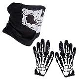 1 Set de Guantes de Esqueleto Blancos y Máscara Facial de Cráneo Huesos,Adecuado para juegos de rol de Halloween, esquí, motocicleta, bicicleta, senderismo